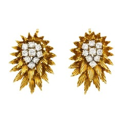Cartier 1950s Gold and Diamond Earrings of Radial Design