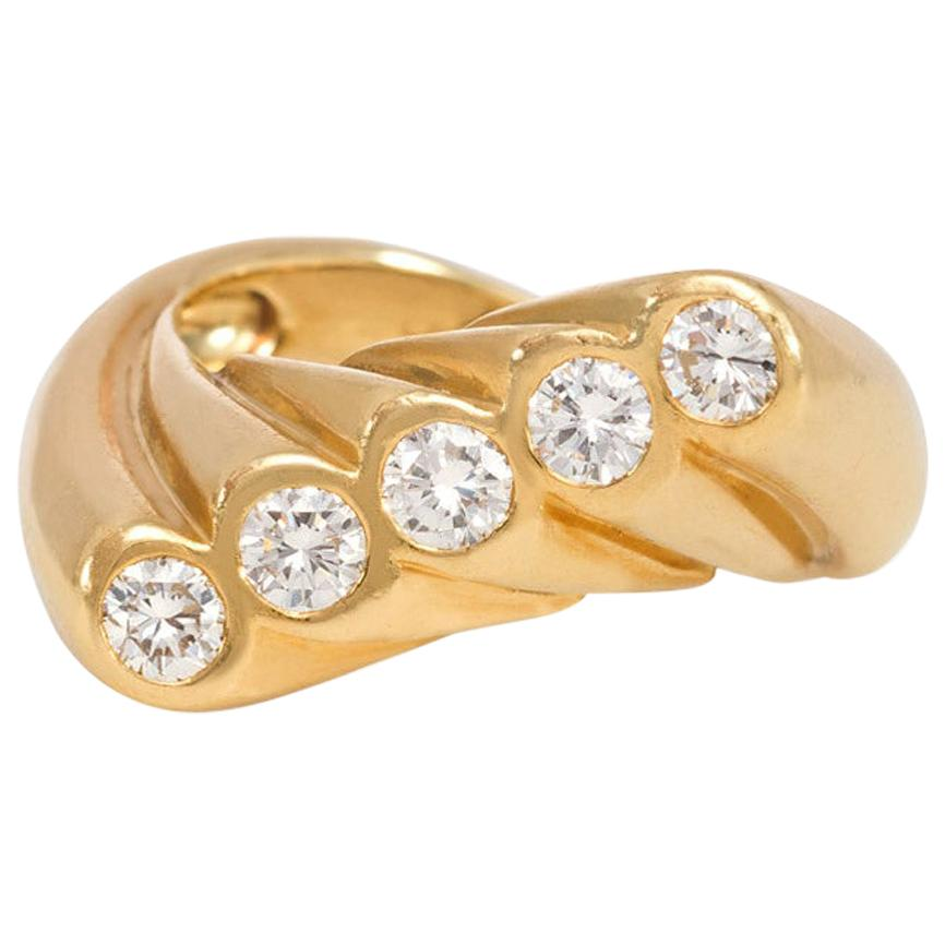 Cartier 1950s Gold and Diamond Ring of Fluted Wave Design