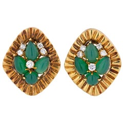 Cartier 1960 18 Karat Yellow Gold Green Cabochon and Diamond Earrings