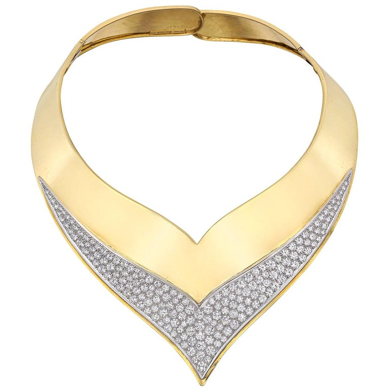 Cartier 1960s 18 Karat Yellow Gold and Diamond Collar Necklace For Sale