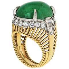 Cartier 1960s Cocktail Ring with 15 Carat Green Cabochon-Cut Emerald