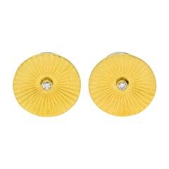 Cartier 1960's Diamond 18 Karat Gold Circular Ear-Clip Earrings