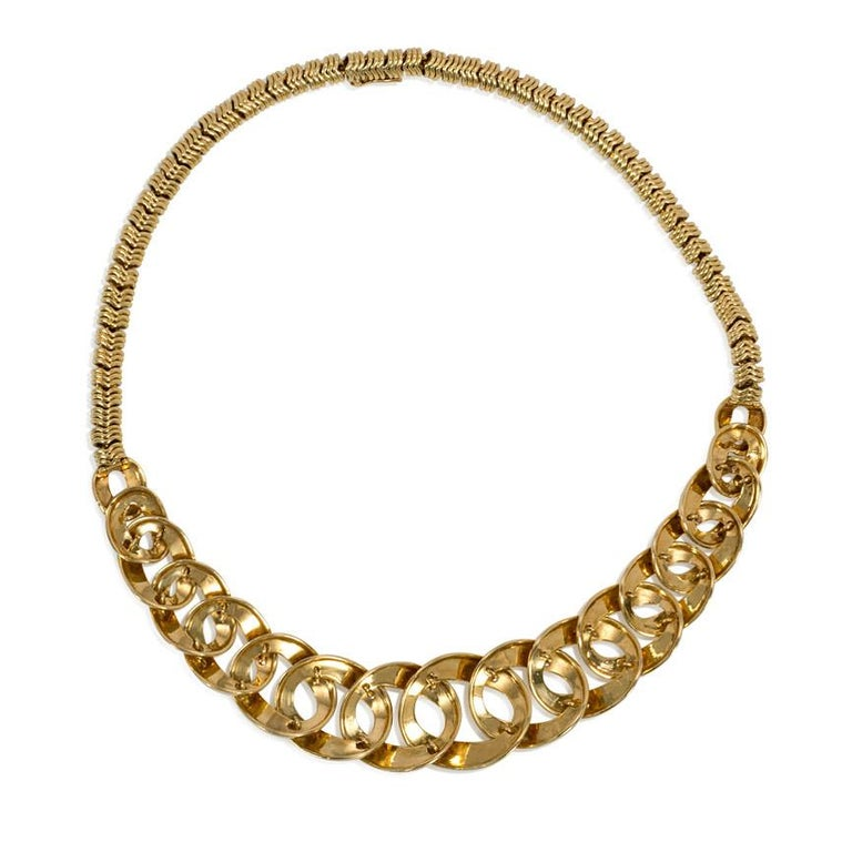 Retro Cartier 1960s Gold Graduated Curb Link Necklace with Tubular Link Back Chain For Sale