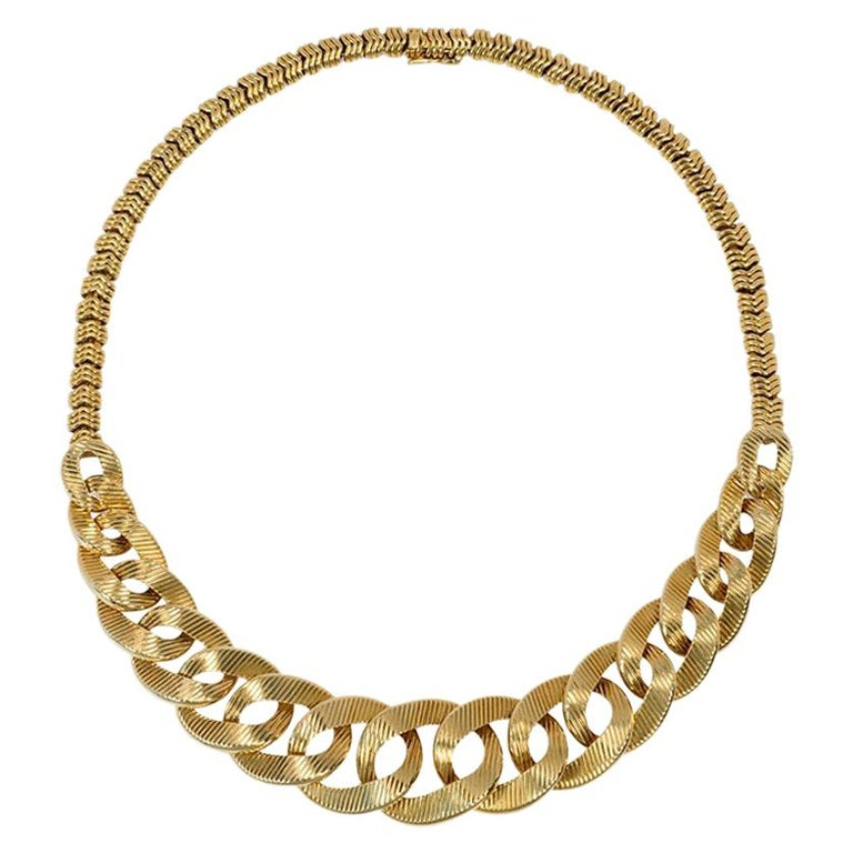 Cartier 1960s Gold Graduated Curb Link Necklace with Tubular Link Back Chain For Sale