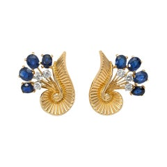 Cartier 1960s Gold, Sapphire, and Diamond Earrings of Scroll and Foliate Design