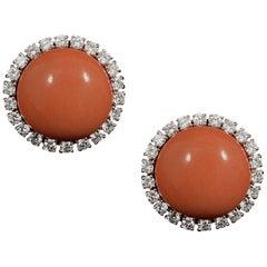 Cartier 1960s Precious Coral Diamond Circular Clip Earrings Yellow Gold Cased