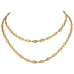 Cartier 1970 18 Karat Yellow Gold Vintage Logo Long Chain Necklace