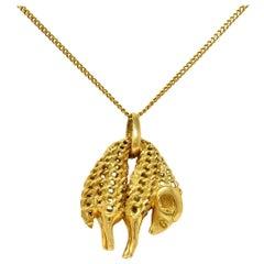Cartier 1970's Vintage 18 Karat Gold Golden Fleece Ram Pendant Necklace