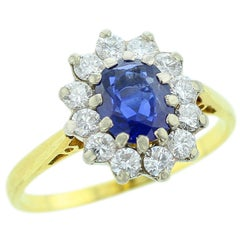 Cartier 1976 Unheated Blue Sapphire and Diamond Ring, 18 Karat Yellow Gold