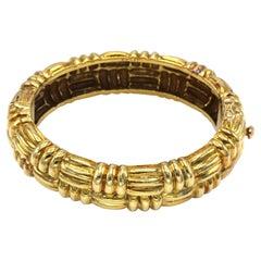 Cartier 1980s 18 Karat Gold Textured Bangle Bracelet