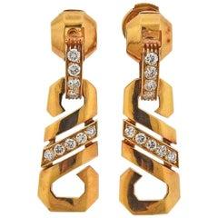 Cartier 1980s Fox Trot Diamond Gold Earrings