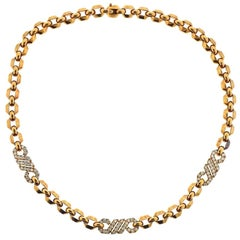 Cartier 1980s Fox Trot Diamond Gold Necklace