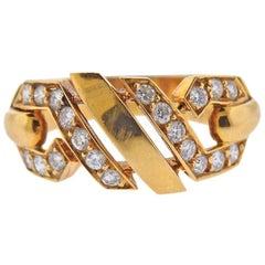 Cartier 1980s Fox Trot Diamond Gold Ring