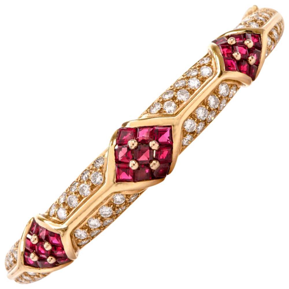 Cartier 1980s Ruby Pave Diamond 18 Karat Yellow Gold Bangle Bracelet