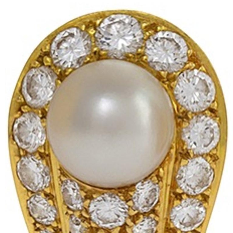 Women's Cartier 1990s Gold, Diamond and Pearl Earrings For Sale