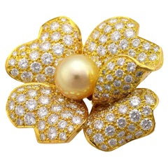 Cartier 1P Pearl Diamond 18 Karat Yellow Gold Paiva Clip Brooch