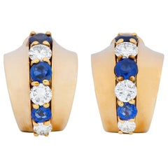 Cartier 2.00 Carat Diamond Sapphire 14 Karat Gold Huggie Ear-Clip Earrings