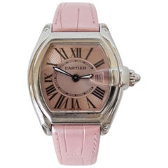 Cartier 2000s Roadster Pink Dial Stainless Steel Wrist Watch