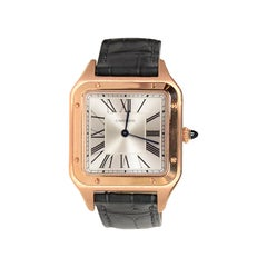 Cartier 2019 Pink Rose Gold 31.4mm Large Santos-Dumont Watch w. Alligator Strap