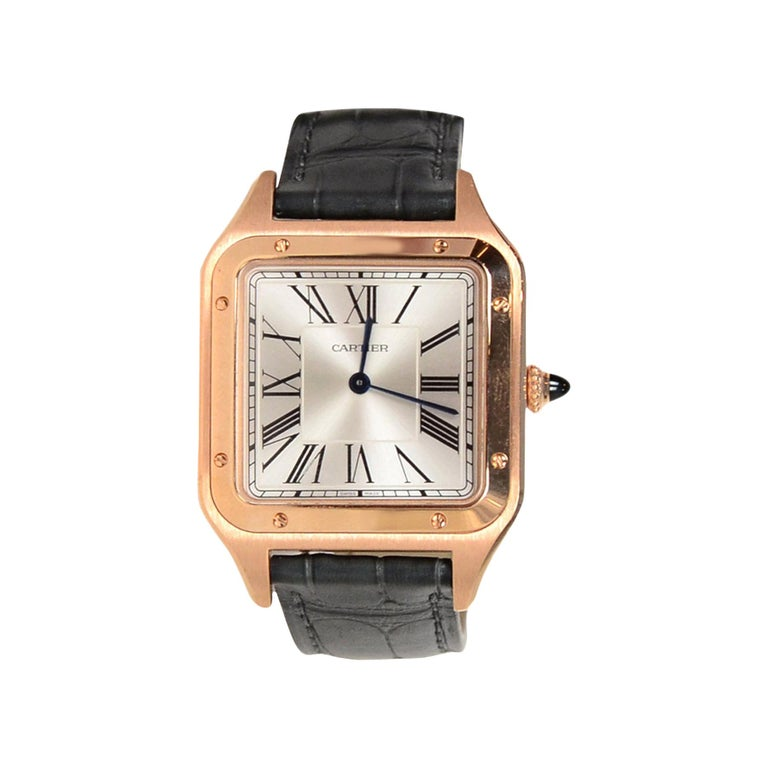 Cartier 2019 Pink Rose Gold 31.4mm Large Santos-Dumont Watch w. Alligator Strap For Sale