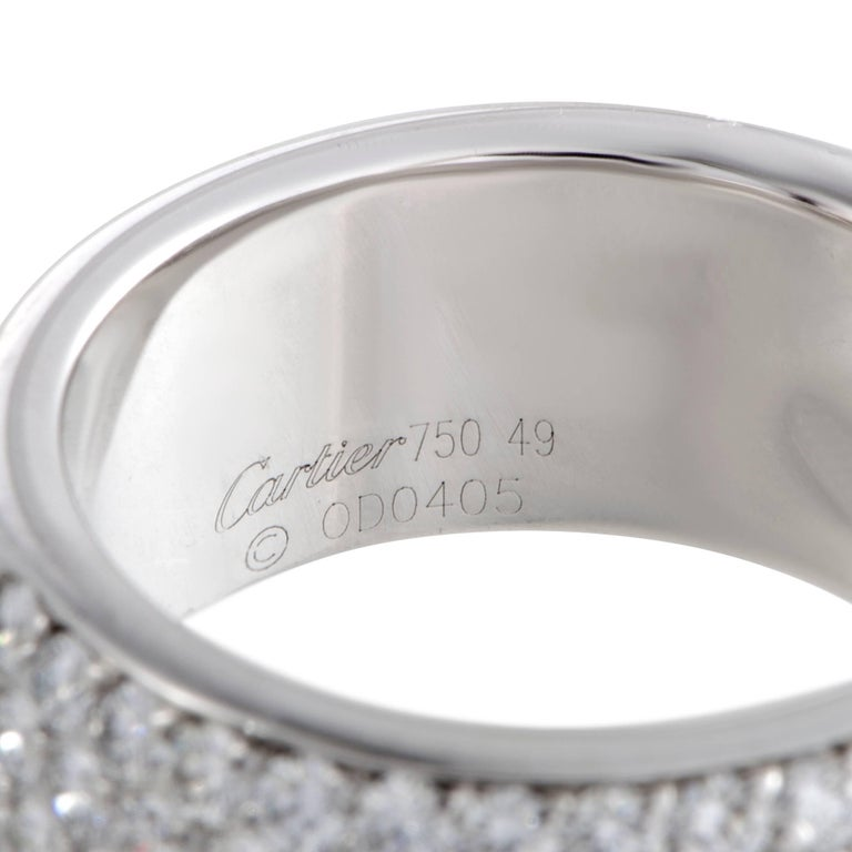 Women's Cartier 2.08 Carat Diamond Pave White Gold Band Ring For Sale