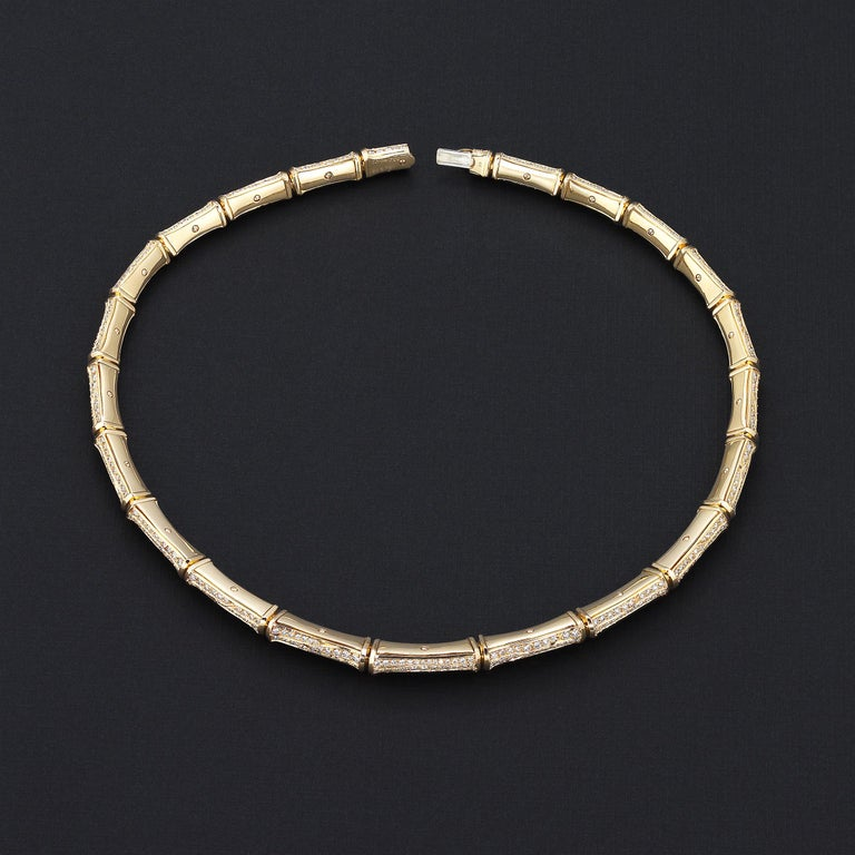 Women's Cartier 20cts Diamond Bamboo Necklace in 18 Karat Gold For Sale