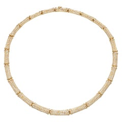 Cartier 20cts Diamond Bamboo Necklace in 18 Karat Gold