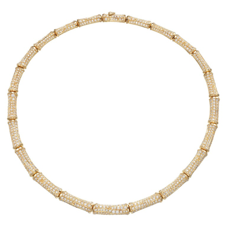 Cartier 20cts Diamond Bamboo Necklace in 18 Karat Gold For Sale