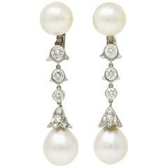 Cartier 2.25 Carat Diamond South Sea Pearl Platinum Articulated Drop Earrings