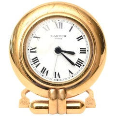 Cartier 24-Karat Gold-Plated Travel Quartz Desk Clock or Desk Accessory Vintage