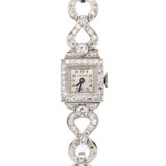 Cartier 2.50 Carat Diamond Platinum Ladies Vintage Wristwatch