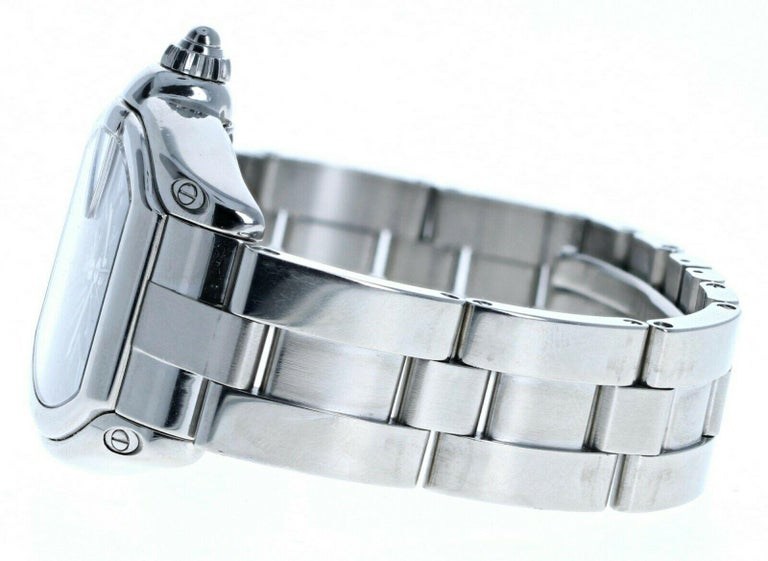 Cartier 2510 Stainless Steel Roadster Black Dial Automatic Watch In Good Condition For Sale In Beverly Hills, CA