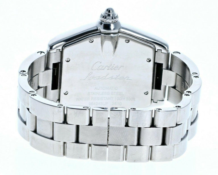 Women's or Men's Cartier 2510 Stainless Steel Roadster Black Dial Automatic Watch For Sale