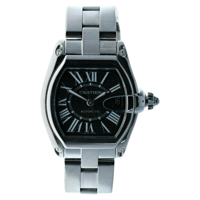 Cartier 2510 Stainless Steel Roadster Black Dial Automatic Watch For Sale