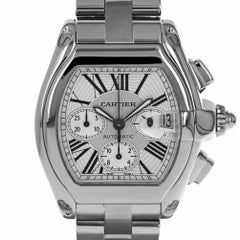 Cartier 2618 Roadster XL Chronograph Silver Roman Swiss Stainless Steel Watch
