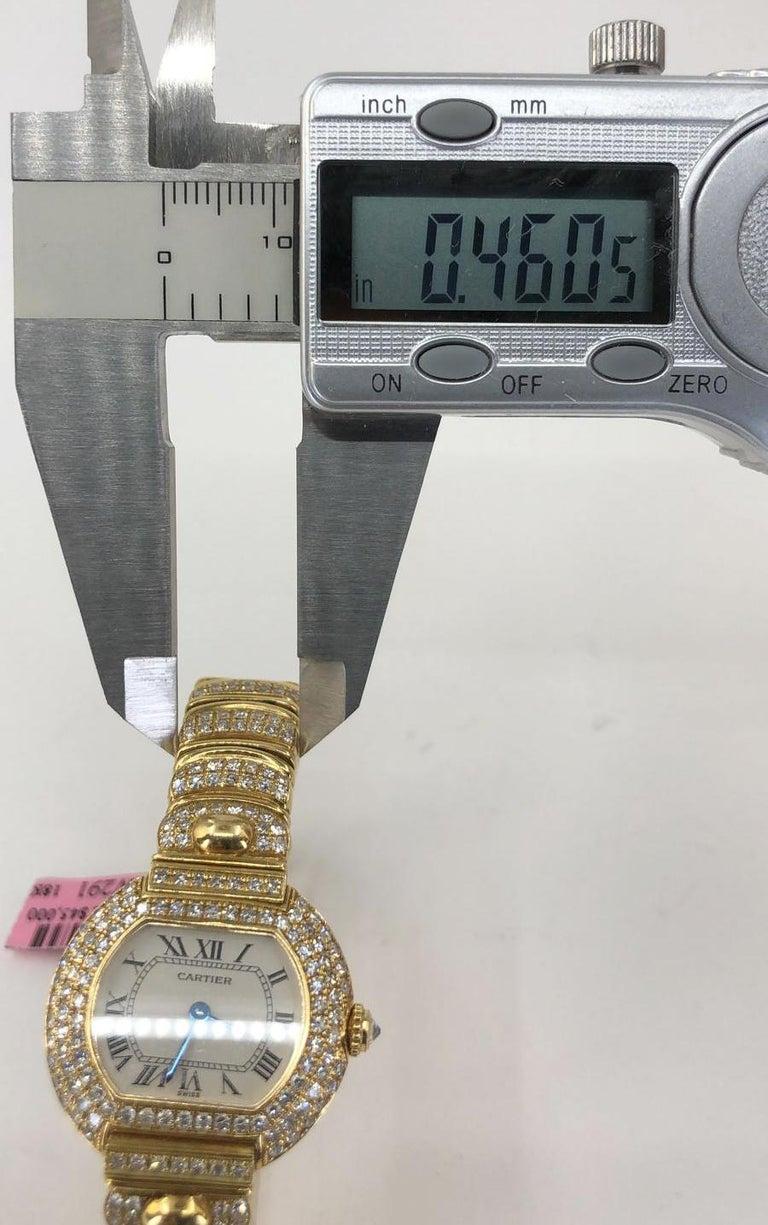 Round Cut Cartier Diamond Watch For Sale