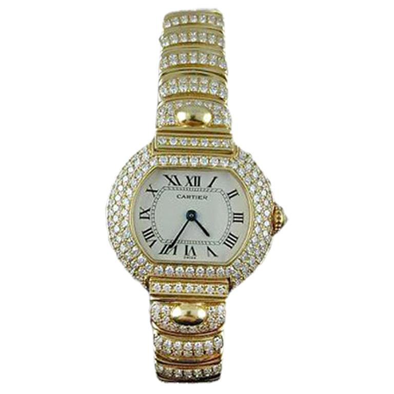 Cartier Ladies Diamond Yellow Gold Quartz Wristwatch