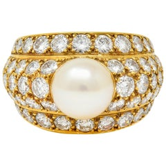 Cartier 2.80 Carat Pave Diamond Cultured Pearl French 18 Karat Gold Band Ring