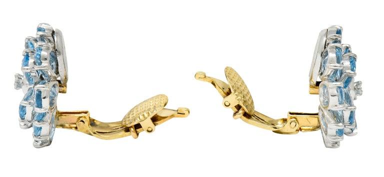 Retro Cartier 28.60 Carats Aquamarine Diamond Platinum 14 Karat Gold Flower Earrings For Sale