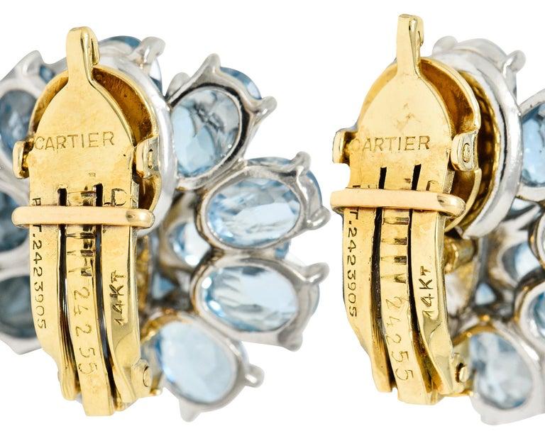 Cartier 28.60 Carats Aquamarine Diamond Platinum 14 Karat Gold Flower Earrings In Excellent Condition For Sale In Philadelphia, PA