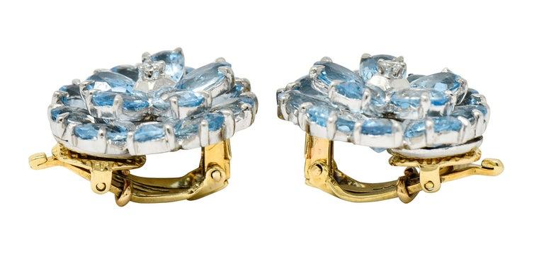 Women's or Men's Cartier 28.60 Carats Aquamarine Diamond Platinum 14 Karat Gold Flower Earrings For Sale