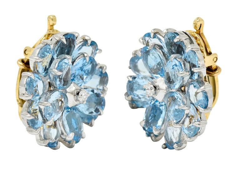 Cartier 28.60 Carats Aquamarine Diamond Platinum 14 Karat Gold Flower Earrings For Sale 1