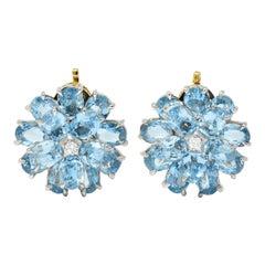 Cartier 28.60 Carats Aquamarine Diamond Platinum 14 Karat Gold Flower Earrings