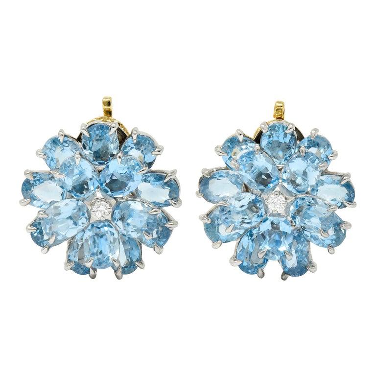 Cartier 28.60 Carats Aquamarine Diamond Platinum 14 Karat Gold Flower Earrings For Sale