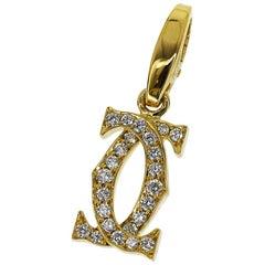 Cartier 2C Diamonds 18 Karat Yellow Gold Charm