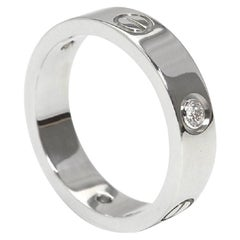 Cartier 3 Diamonds Love Ring, 18 Karat White Gold