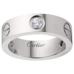 Cartier 3 Diamonds Love Ring 18 Karat White Gold