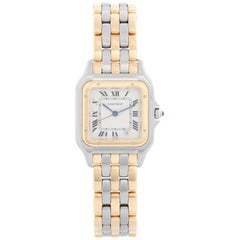 Cartier 3-Row Panther 2-Tone Steel and Gold Watch W25027B8