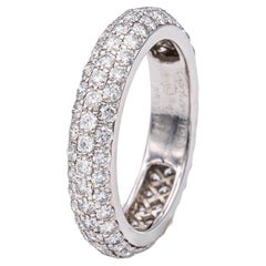 Cartier 3 Row Pave Domed Band Ring in Platinum