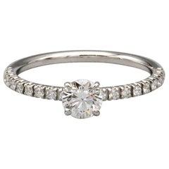 Cartier .30 Carat E VS1 Diamond and Platinum Engagement Ring